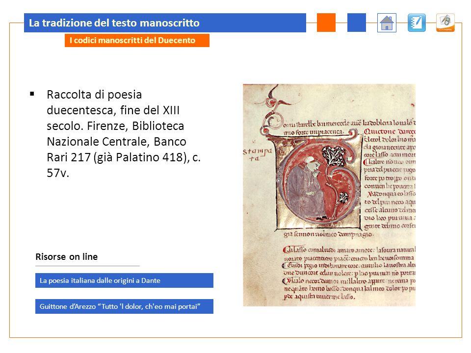 La tradizione del testo manoscritto Raccolta di poesia duecentesca, fine del XIII secolo.