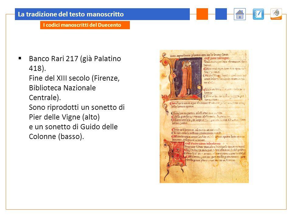 La tradizione del testo manoscritto Banco Rari 217 (già Palatino 418).