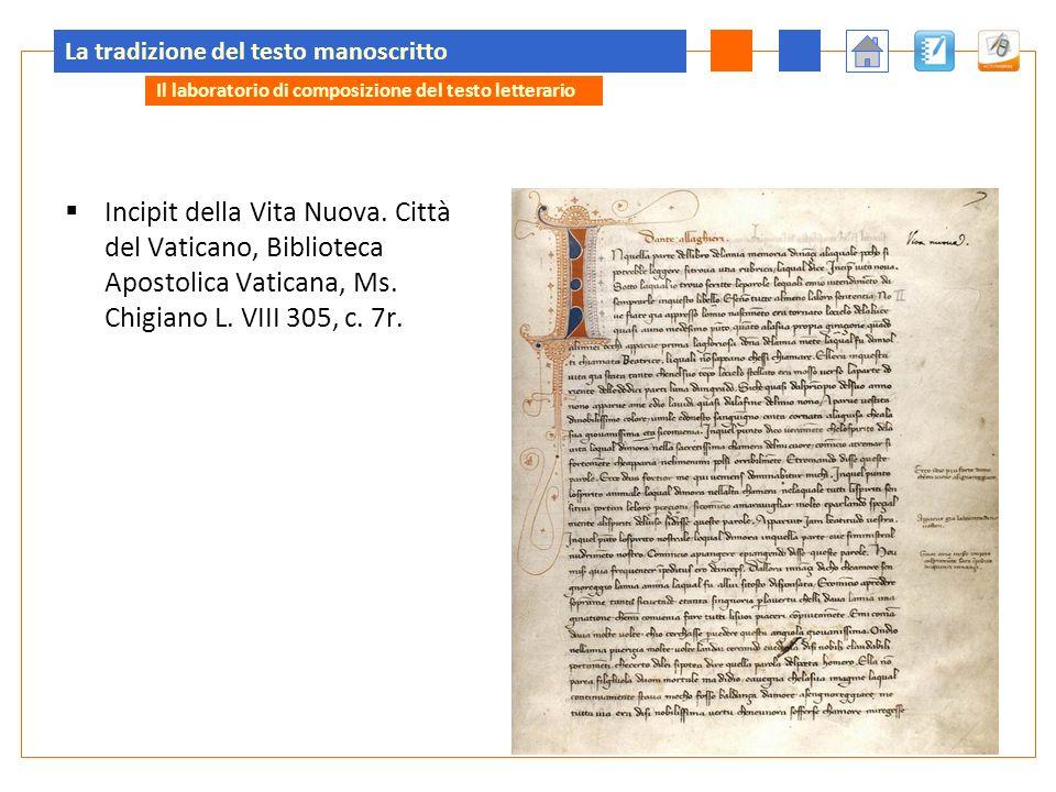 La tradizione del testo manoscritto Incipit della Vita Nuova.