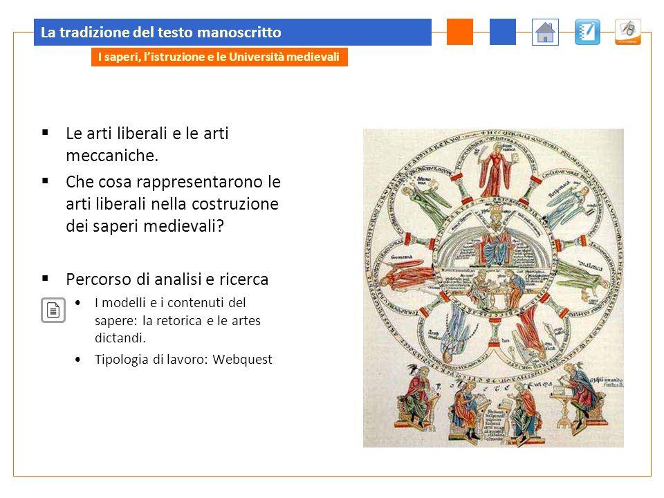 La tradizione del testo manoscritto Le arti liberali e le arti meccaniche. Che cosa rappresentarono le arti liberali nella costruzione dei saperi medi