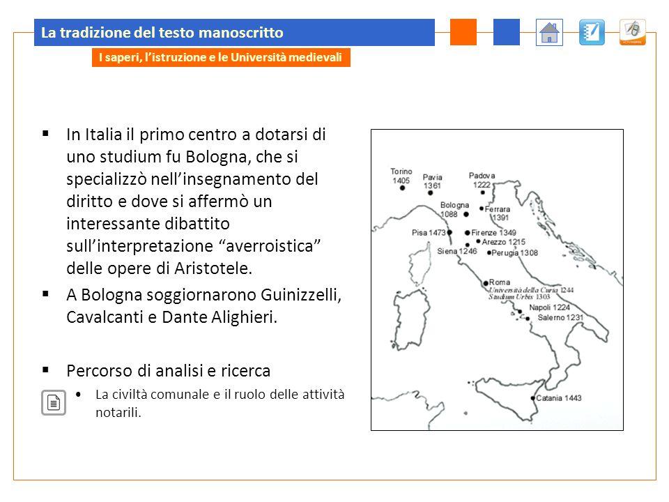La tradizione del testo manoscritto In Italia il primo centro a dotarsi di uno studium fu Bologna, che si specializzò nellinsegnamento del diritto e d
