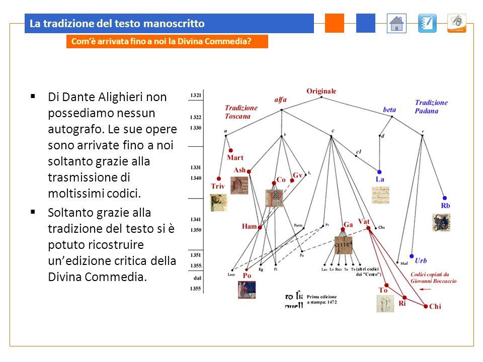 La tradizione del testo manoscritto Di Dante Alighieri non possediamo nessun autografo. Le sue opere sono arrivate fino a noi soltanto grazie alla tra