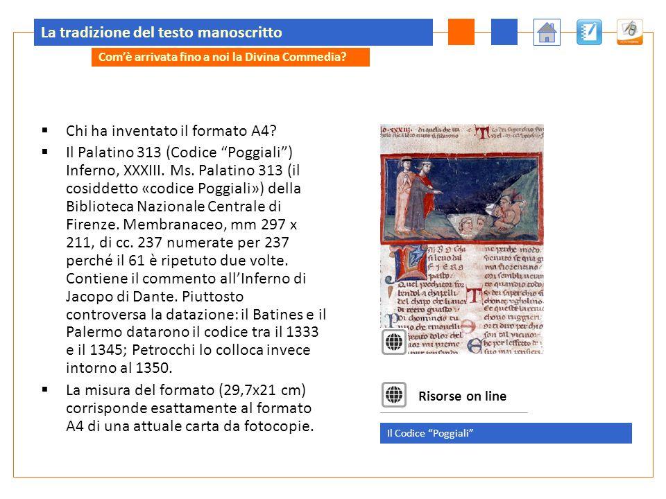 La tradizione del testo manoscritto Chi ha inventato il formato A4? Il Palatino 313 (Codice Poggiali) Inferno, XXXIII. Ms. Palatino 313 (il cosiddetto