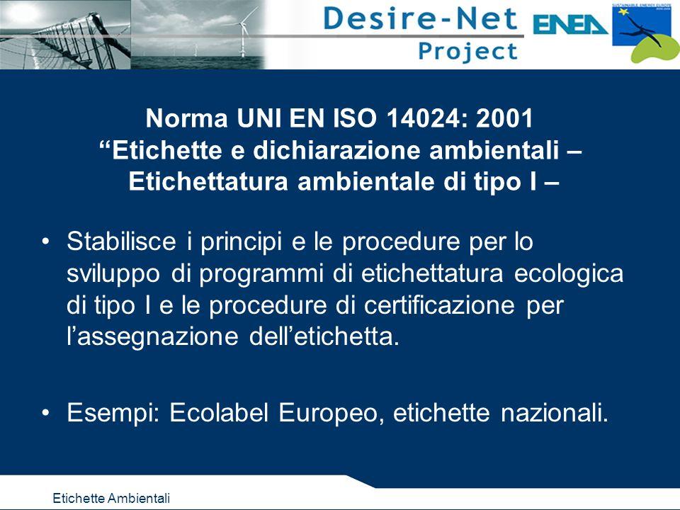 Etichette Ambientali Norma UNI EN ISO 14024: 2001 Etichette e dichiarazione ambientali – Etichettatura ambientale di tipo I – Stabilisce i principi e le procedure per lo sviluppo di programmi di etichettatura ecologica di tipo I e le procedure di certificazione per lassegnazione delletichetta.