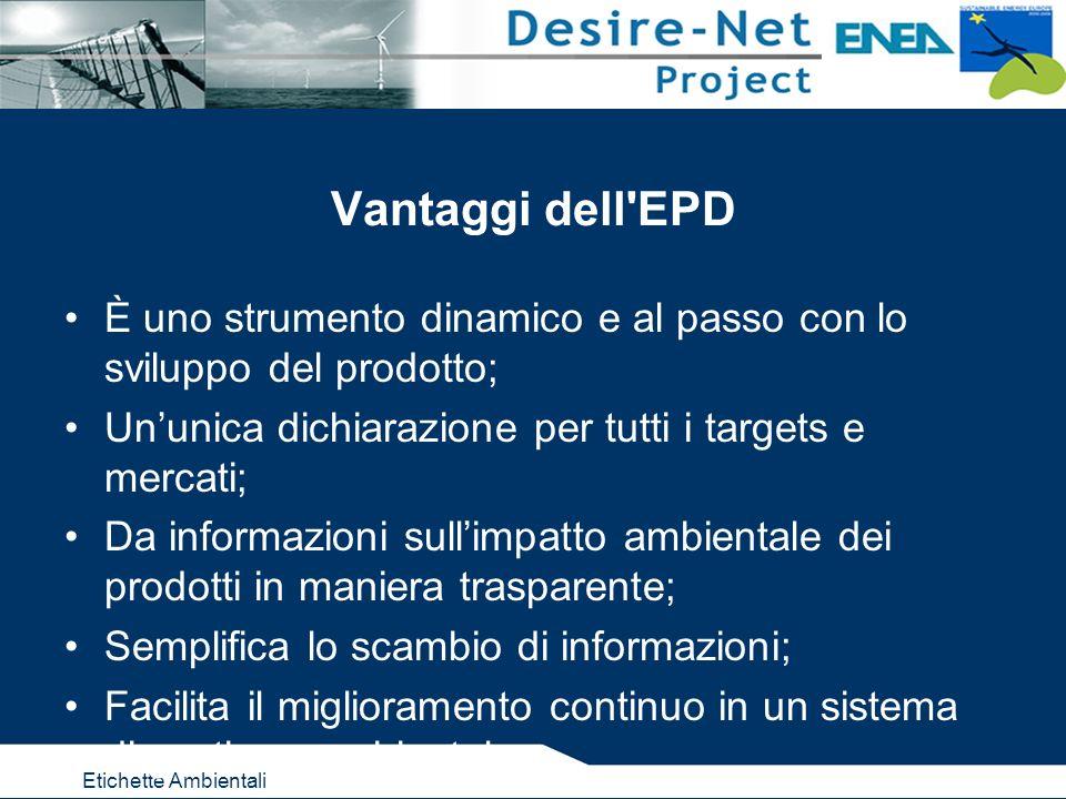 Etichette Ambientali Vantaggi dell'EPD È uno strumento dinamico e al passo con lo sviluppo del prodotto; Ununica dichiarazione per tutti i targets e m