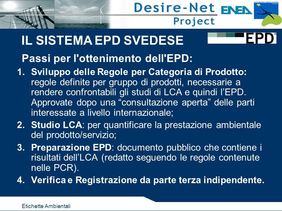 Etichette Ambientali Passi per l ottenimento dell EPD: 1.Sviluppo delle Regole per Categoria di Prodotto: regole definite per gruppo di prodotti, necessarie a rendere confrontabili gli studi di LCA e quindi lEPD.