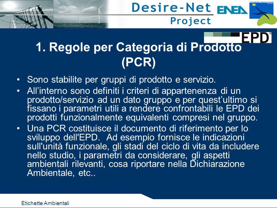 Etichette Ambientali 1. Regole per Categoria di Prodotto (PCR) Sono stabilite per gruppi di prodotto e servizio. Allinterno sono definiti i criteri di