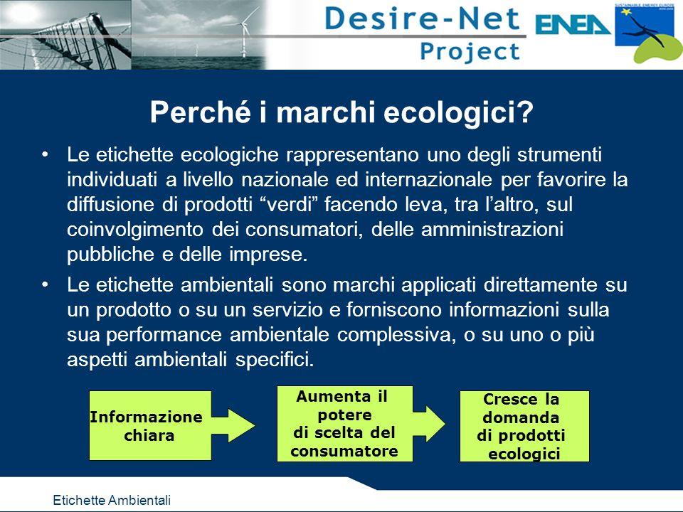 Etichette Ambientali Perché i marchi ecologici? Le etichette ecologiche rappresentano uno degli strumenti individuati a livello nazionale ed internazi