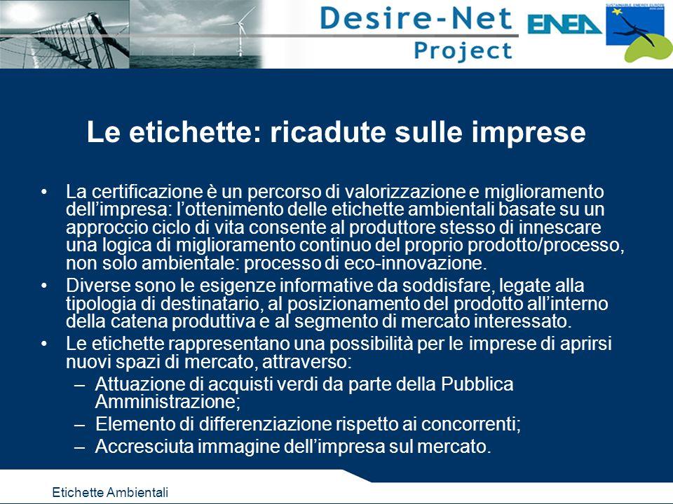Etichette Ambientali Le etichette: ricadute sulle imprese La certificazione è un percorso di valorizzazione e miglioramento dellimpresa: lottenimento