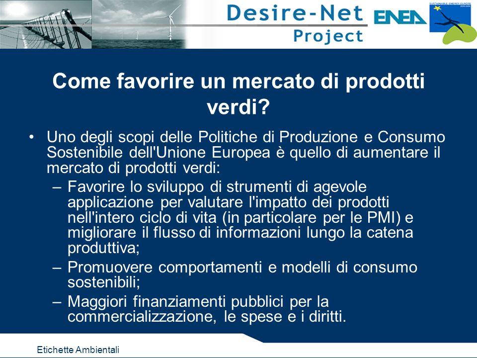 Etichette Ambientali Come favorire un mercato di prodotti verdi? Uno degli scopi delle Politiche di Produzione e Consumo Sostenibile dell'Unione Europ