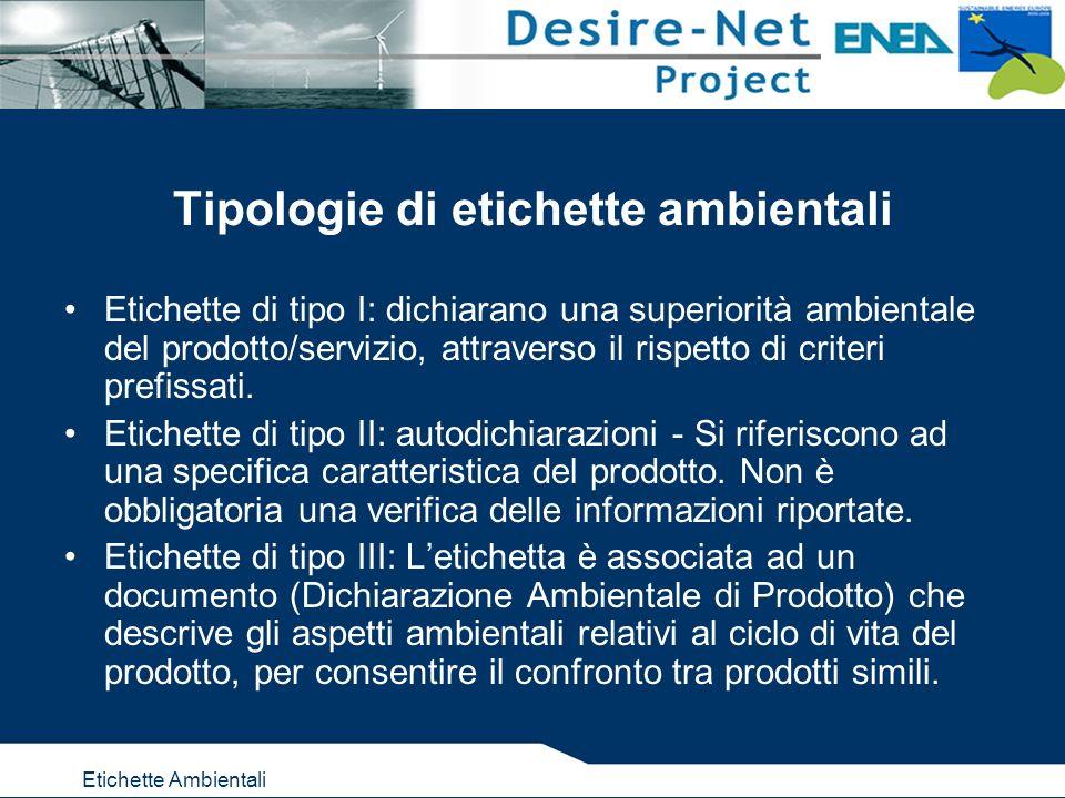 Etichette Ambientali Tipologie di etichette ambientali Etichette di tipo I: dichiarano una superiorità ambientale del prodotto/servizio, attraverso il