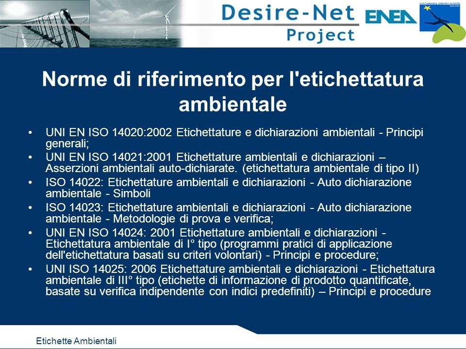 Etichette Ambientali Norme di riferimento per l etichettatura ambientale UNI EN ISO 14020:2002 Etichettature e dichiarazioni ambientali - Principi generali; UNI EN ISO 14021:2001 Etichettature ambientali e dichiarazioni – Asserzioni ambientali auto-dichiarate.