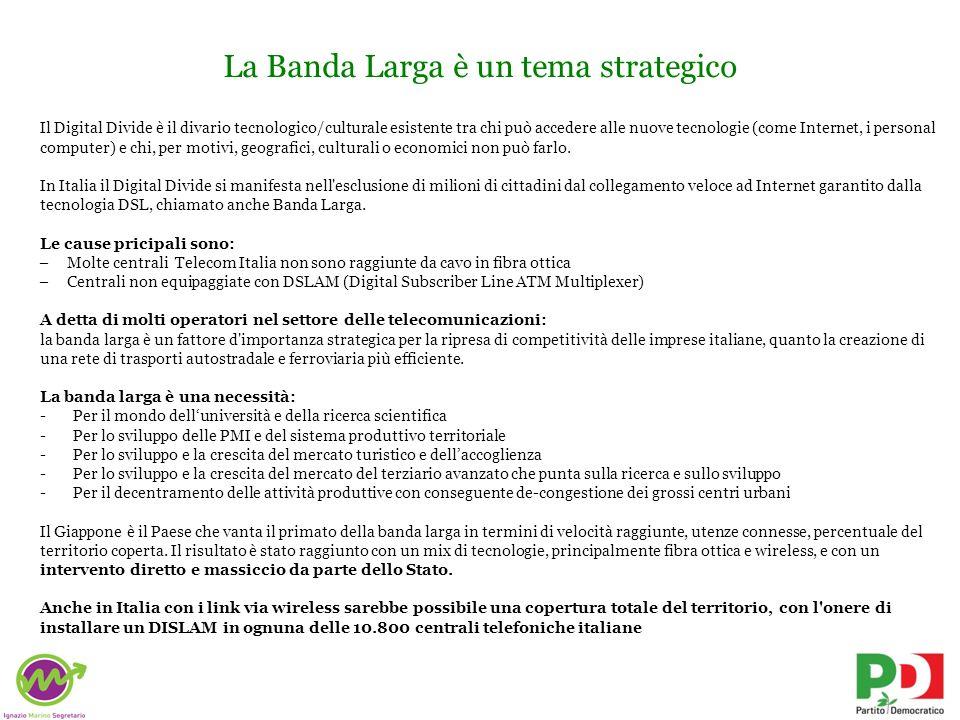 La Banda Larga è un tema strategico Il Digital Divide è il divario tecnologico/culturale esistente tra chi può accedere alle nuove tecnologie (come In