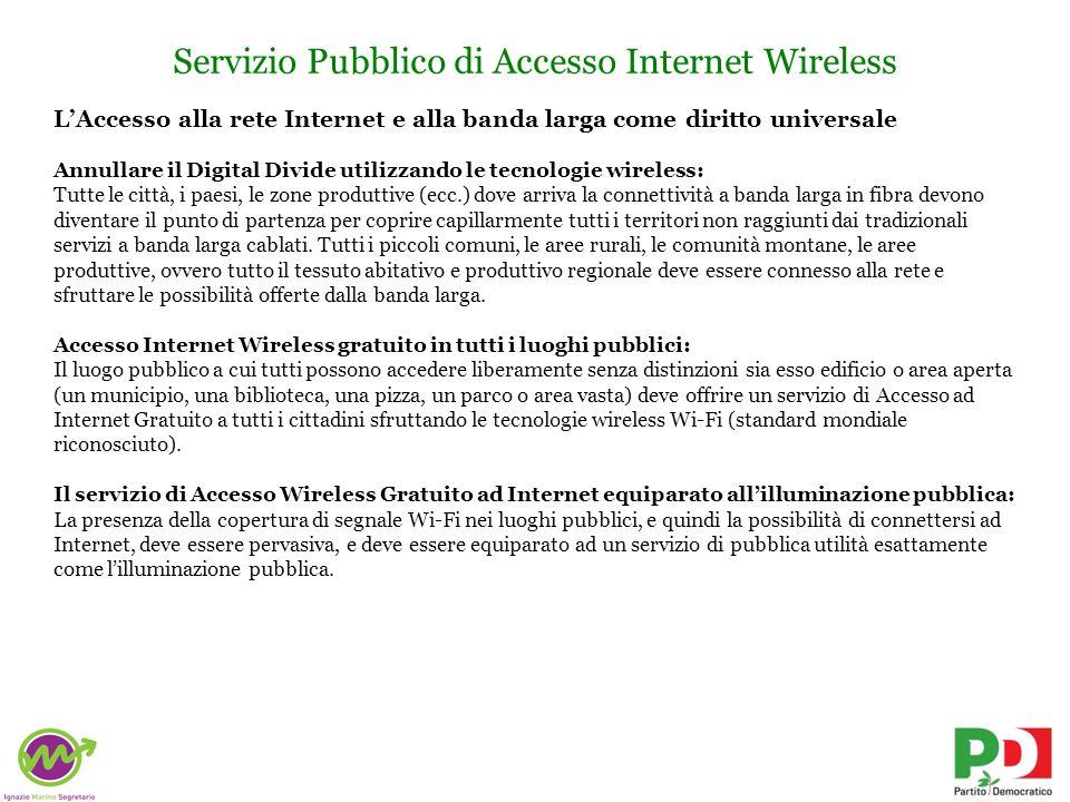 Azioni possibili Utilizzo pubblico della rete LEPIDA Linfrastuttura di rete a banda larga in fibra ottica LEPIDA, che connette attualmente tutti i comuni della Regione Emilia Romagna (salvo alcuni casi), deve essere aperta e sfruttata come punto di partenza per colmare il Digital Divide.
