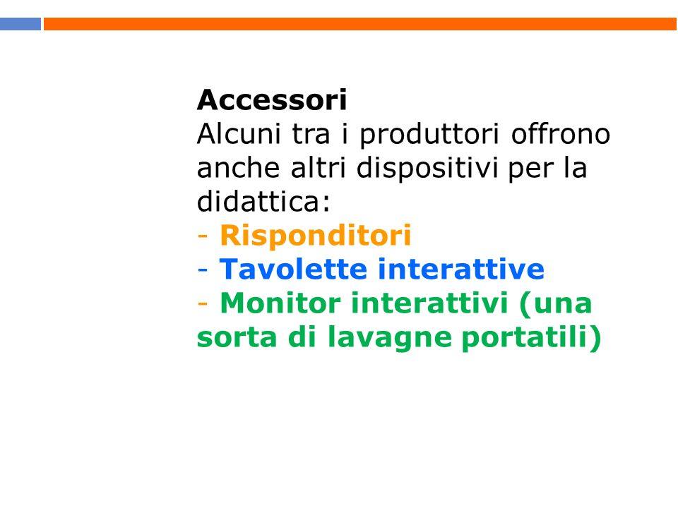 Accessori Alcuni tra i produttori offrono anche altri dispositivi per la didattica: - Risponditori - Tavolette interattive - Monitor interattivi (una