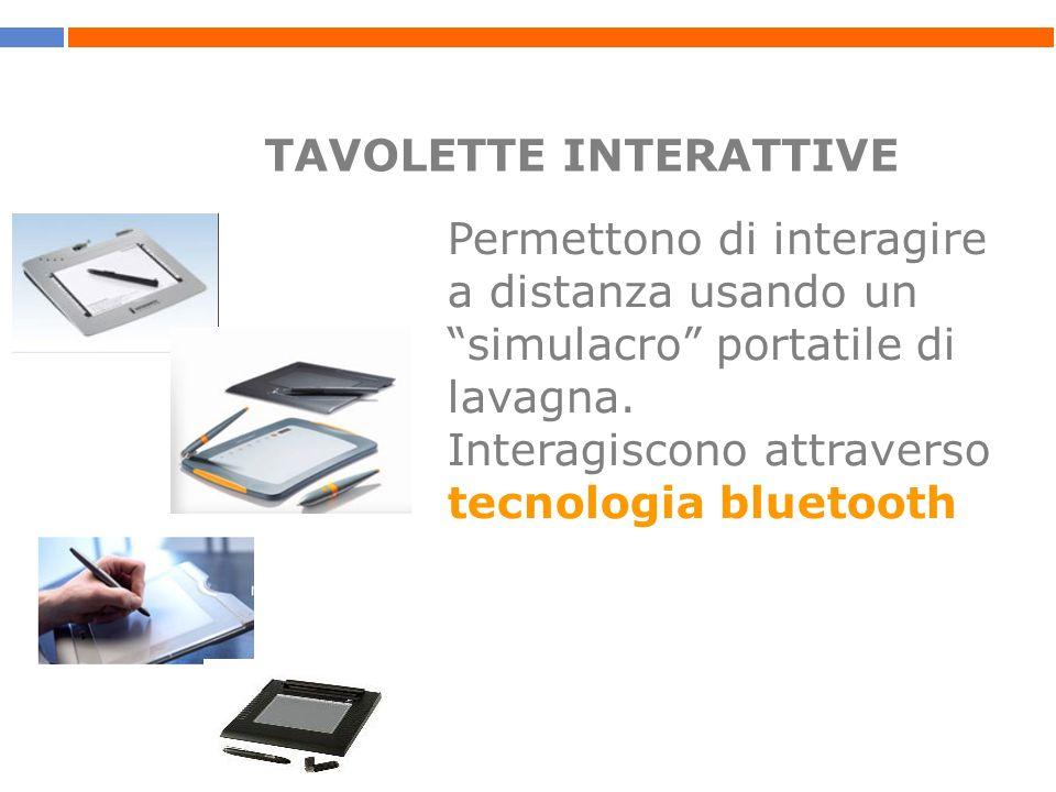 TAVOLETTE INTERATTIVE Permettono di interagire a distanza usando un simulacro portatile di lavagna. Interagiscono attraverso tecnologia bluetooth
