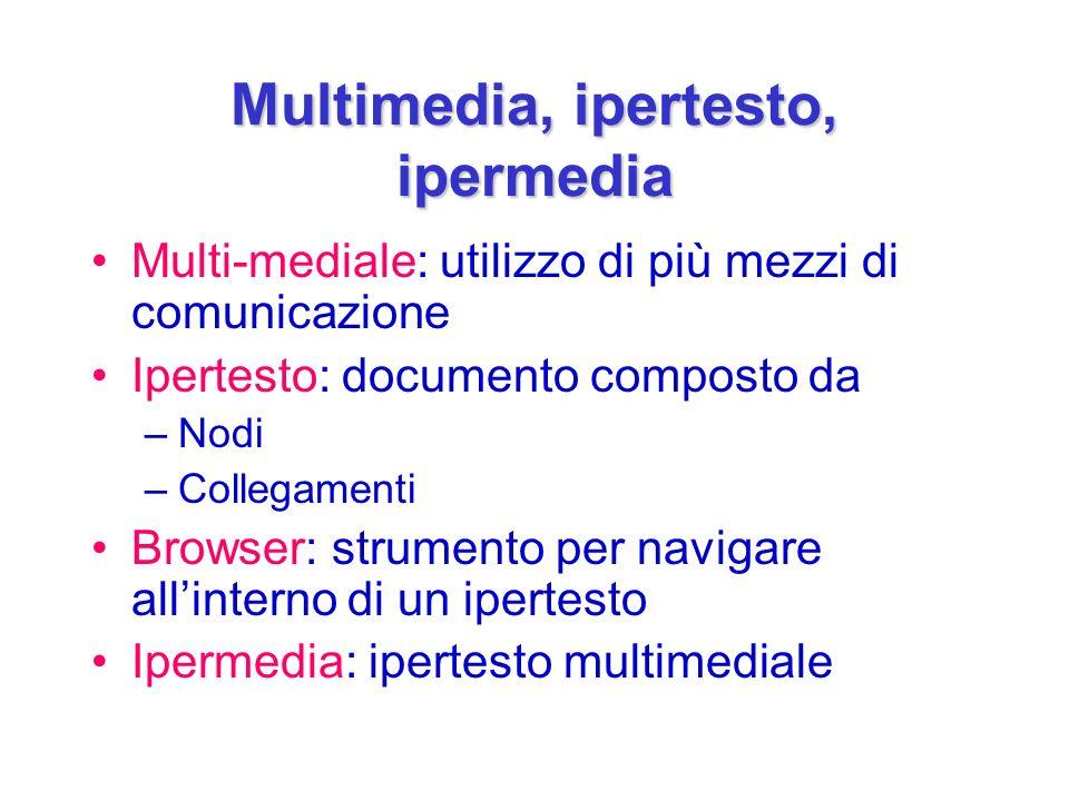 Multimedia, ipertesto, ipermedia Multi-mediale: utilizzo di più mezzi di comunicazione Ipertesto: documento composto da –Nodi –Collegamenti Browser: strumento per navigare allinterno di un ipertesto Ipermedia: ipertesto multimediale