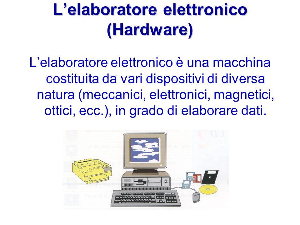 Lelaboratore elettronico (Hardware) Lelaboratore elettronico è una macchina costituita da vari dispositivi di diversa natura (meccanici, elettronici, magnetici, ottici, ecc.), in grado di elaborare dati.