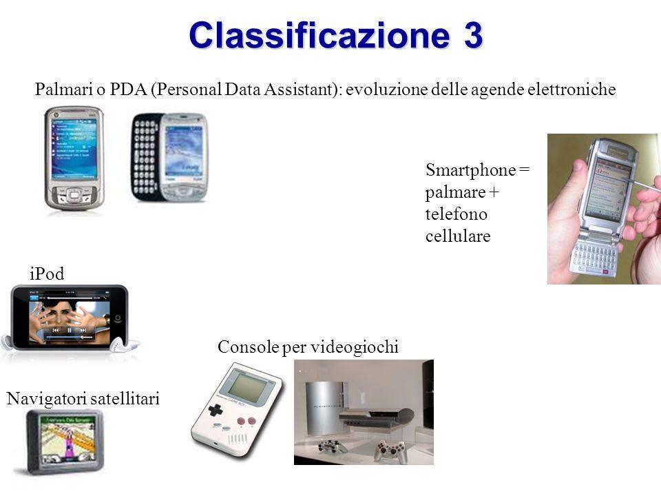 Classificazione 3 Smartphone = palmare + telefono cellulare Palmari o PDA (Personal Data Assistant): evoluzione delle agende elettroniche iPod Navigatori satellitari Console per videogiochi