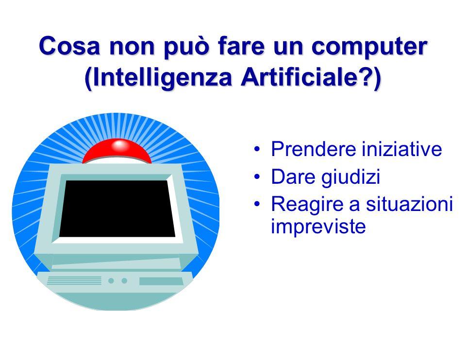 Cosa non può fare un computer (Intelligenza Artificiale?) Prendere iniziative Dare giudizi Reagire a situazioni impreviste