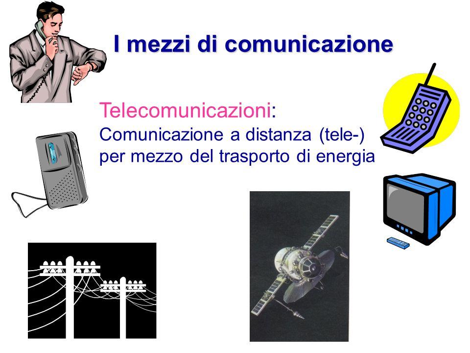 Telecomunicazioni: Comunicazione a distanza (tele-) per mezzo del trasporto di energia I mezzi di comunicazione