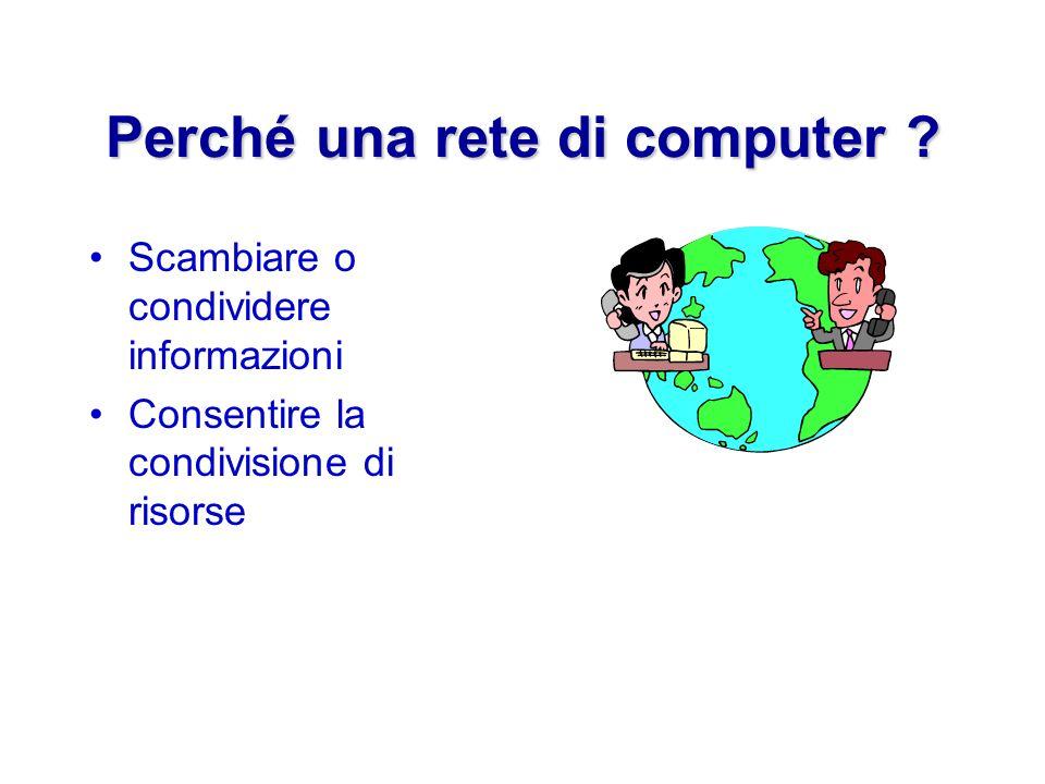 Perché una rete di computer ? Scambiare o condividere informazioni Consentire la condivisione di risorse