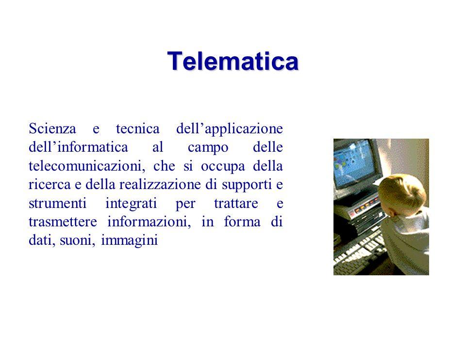 Telematica Scienza e tecnica dellapplicazione dellinformatica al campo delle telecomunicazioni, che si occupa della ricerca e della realizzazione di supporti e strumenti integrati per trattare e trasmettere informazioni, in forma di dati, suoni, immagini