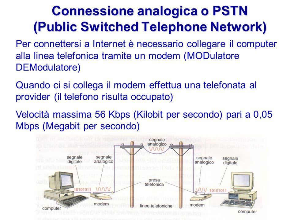Connessione analogica o PSTN (Public Switched Telephone Network) Per connettersi a Internet è necessario collegare il computer alla linea telefonica tramite un modem (MODulatore DEModulatore) Quando ci si collega il modem effettua una telefonata al provider (il telefono risulta occupato) Velocità massima 56 Kbps (Kilobit per secondo) pari a 0,05 Mbps (Megabit per secondo)