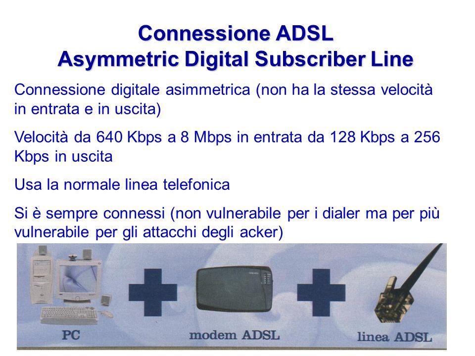 Connessione ADSL Asymmetric Digital Subscriber Line Connessione digitale asimmetrica (non ha la stessa velocità in entrata e in uscita) Velocità da 640 Kbps a 8 Mbps in entrata da 128 Kbps a 256 Kbps in uscita Usa la normale linea telefonica Si è sempre connessi (non vulnerabile per i dialer ma per più vulnerabile per gli attacchi degli acker)