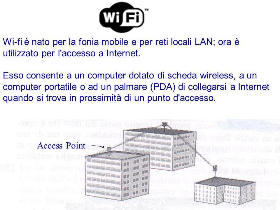 Wi-fi è nato per la fonia mobile e per reti locali LAN; ora è utilizzato per l accesso a Internet.