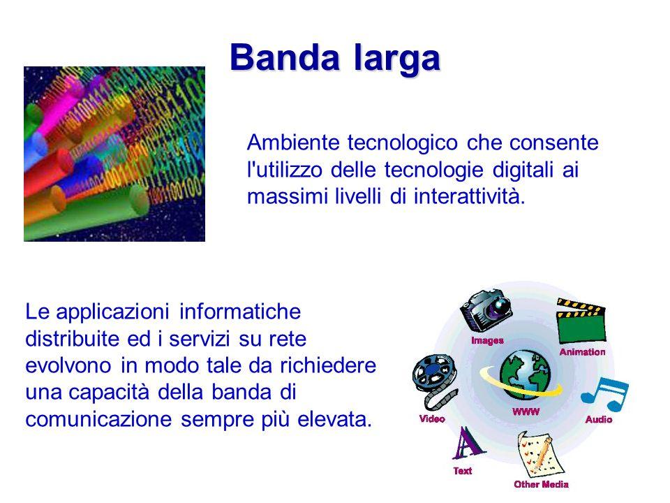Banda larga Ambiente tecnologico che consente l'utilizzo delle tecnologie digitali ai massimi livelli di interattività. Le applicazioni informatiche d