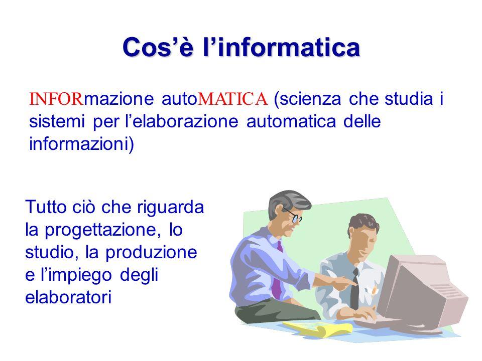 Cosè linformatica INFOR mazione auto MATICA (scienza che studia i sistemi per lelaborazione automatica delle informazioni) Tutto ciò che riguarda la progettazione, lo studio, la produzione e limpiego degli elaboratori