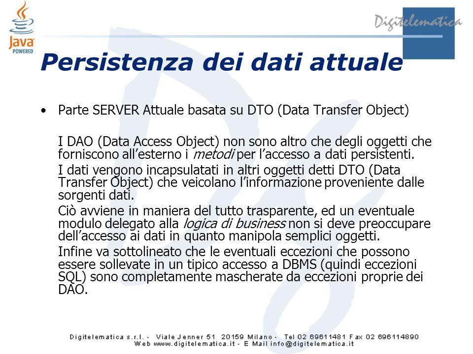 Persistenza dei dati attuale Parte SERVER Attuale basata su DTO (Data Transfer Object) I DAO (Data Access Object) non sono altro che degli oggetti che forniscono allesterno i metodi per laccesso a dati persistenti.