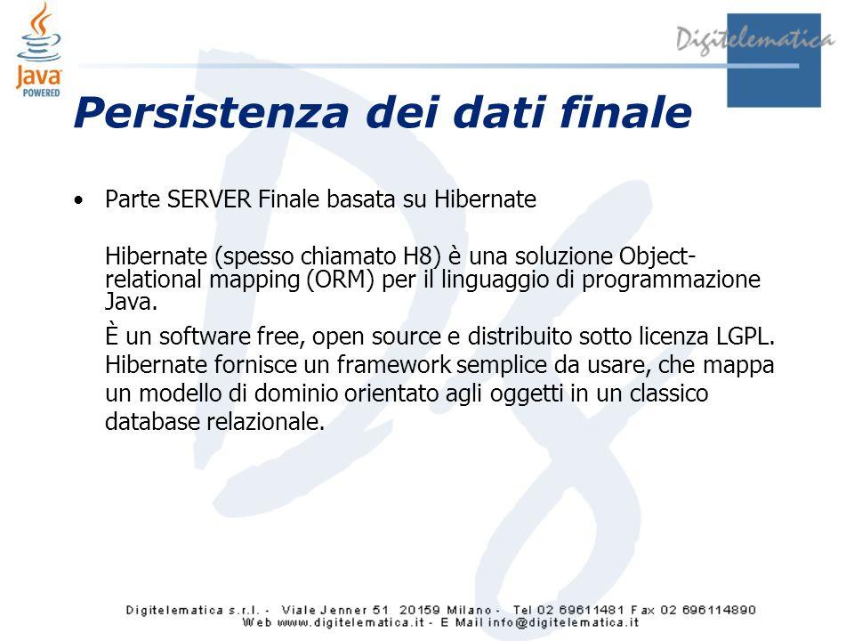 Persistenza dei dati finale Parte SERVER Finale basata su Hibernate Hibernate (spesso chiamato H8) è una soluzione Object- relational mapping (ORM) per il linguaggio di programmazione Java.