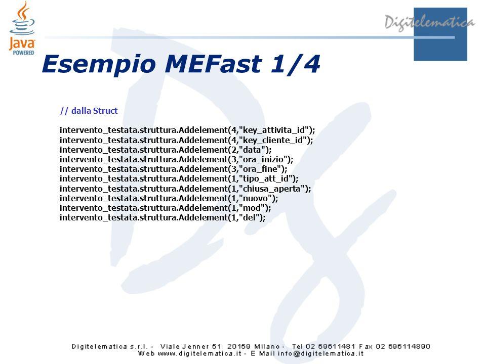 Esempio MEFast 1/4 // dalla Struct intervento_testata.struttura.Addelement(4, key_attivita_id ); intervento_testata.struttura.Addelement(4, key_cliente_id ); intervento_testata.struttura.Addelement(2, data ); intervento_testata.struttura.Addelement(3, ora_inizio ); intervento_testata.struttura.Addelement(3, ora_fine ); intervento_testata.struttura.Addelement(1, tipo_att_id ); intervento_testata.struttura.Addelement(1, chiusa_aperta ); intervento_testata.struttura.Addelement(1, nuovo ); intervento_testata.struttura.Addelement(1, mod ); intervento_testata.struttura.Addelement(1, del );