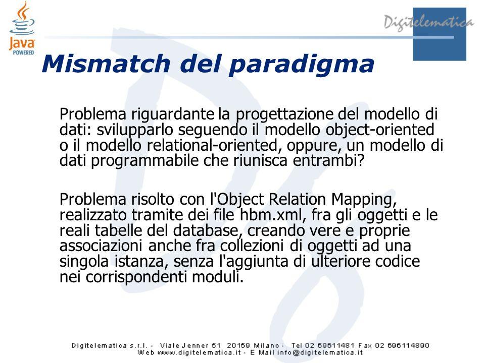 Mismatch del paradigma Problema riguardante la progettazione del modello di dati: svilupparlo seguendo il modello object-oriented o il modello relational-oriented, oppure, un modello di dati programmabile che riunisca entrambi.