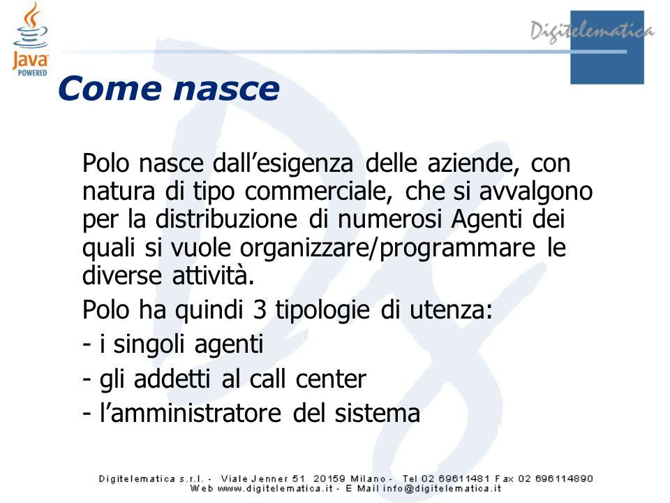 Come nasce Polo nasce dallesigenza delle aziende, con natura di tipo commerciale, che si avvalgono per la distribuzione di numerosi Agenti dei quali si vuole organizzare/programmare le diverse attività.