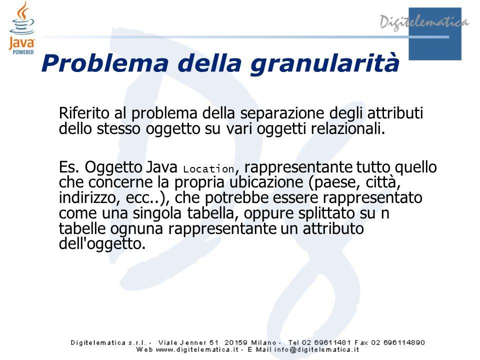 Problema della granularità Riferito al problema della separazione degli attributi dello stesso oggetto su vari oggetti relazionali.