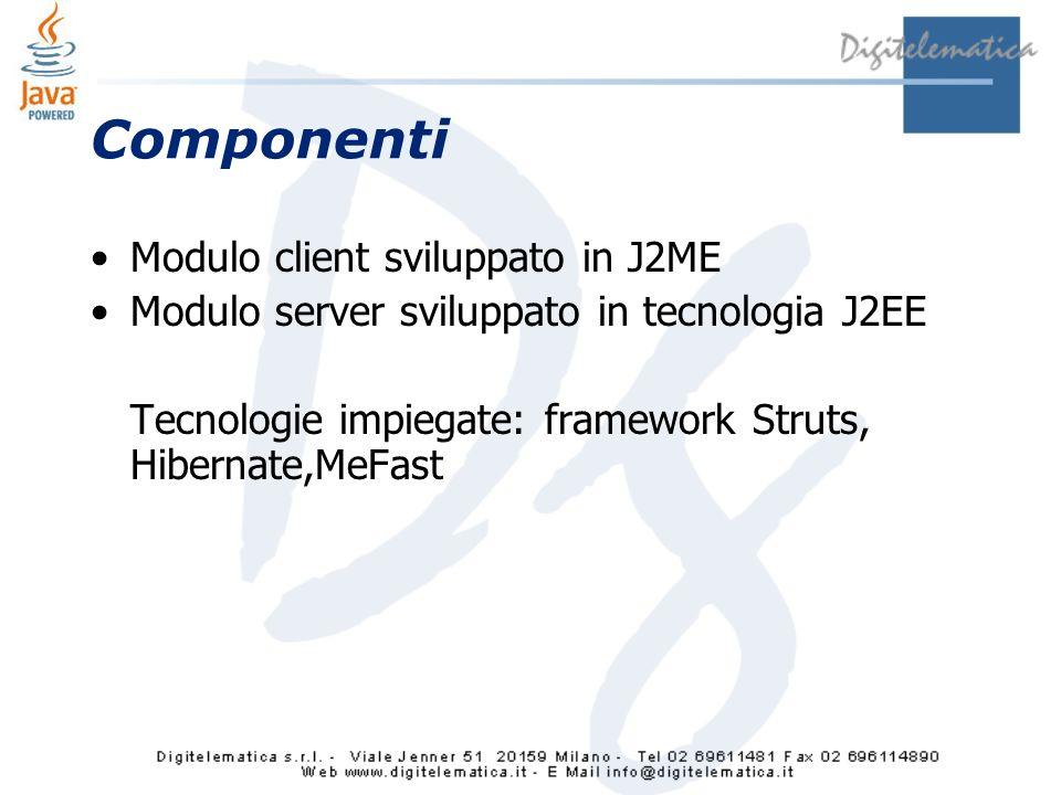 Componenti Modulo client sviluppato in J2ME Modulo server sviluppato in tecnologia J2EE Tecnologie impiegate: framework Struts, Hibernate,MeFast