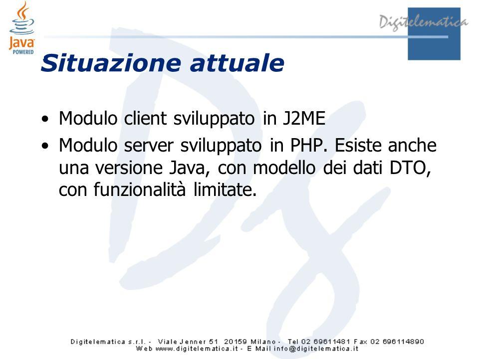Situazione attuale Modulo client sviluppato in J2ME Modulo server sviluppato in PHP.
