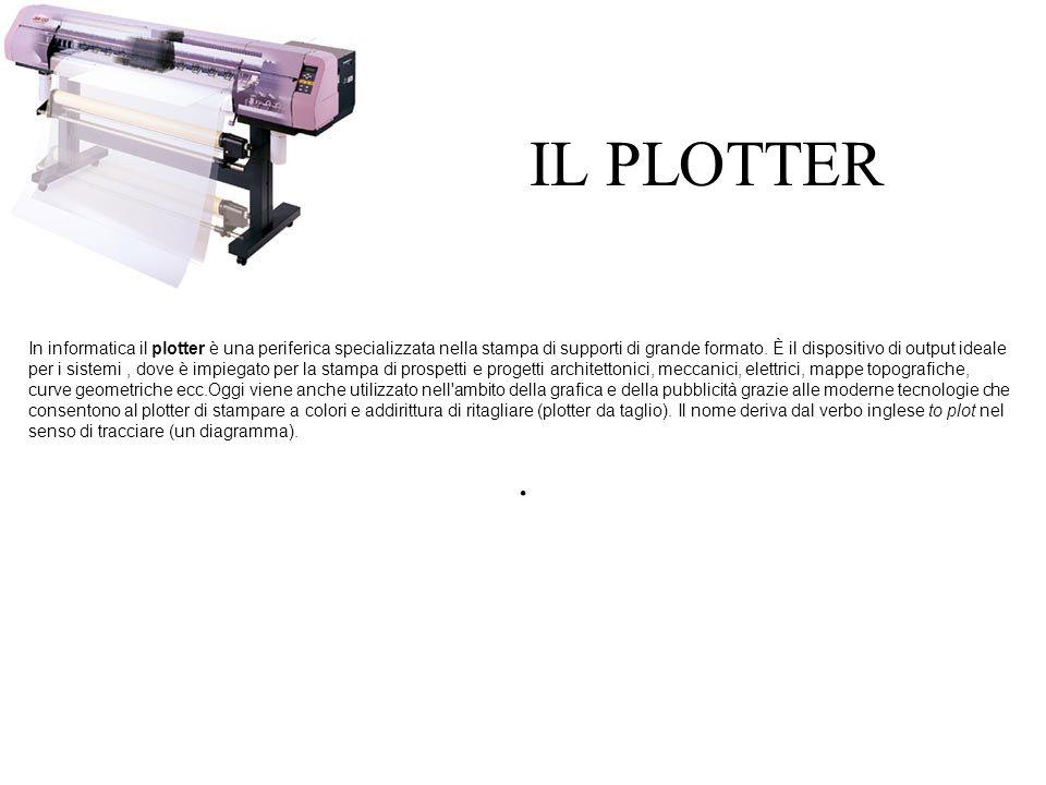 IL PLOTTER In informatica il plotter è una periferica specializzata nella stampa di supporti di grande formato.