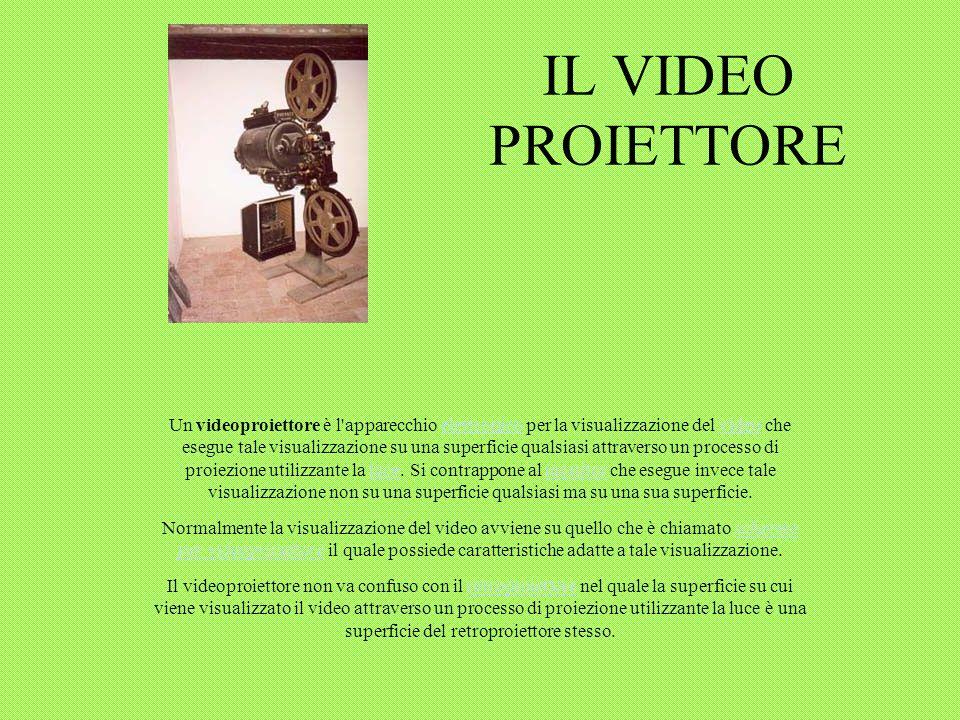 IL VIDEO PROIETTORE Un videoproiettore è l apparecchio elettronico per la visualizzazione del video che esegue tale visualizzazione su una superficie qualsiasi attraverso un processo di proiezione utilizzante la luce.