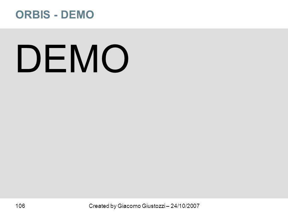 106Created by Giacomo Giustozzi – 24/10/2007 ORBIS - DEMO DEMO