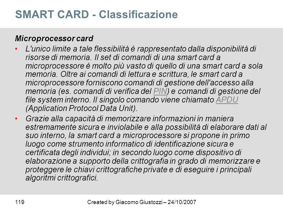119Created by Giacomo Giustozzi – 24/10/2007 SMART CARD - Classificazione Microprocessor card L'unico limite a tale flessibilità è rappresentato dalla