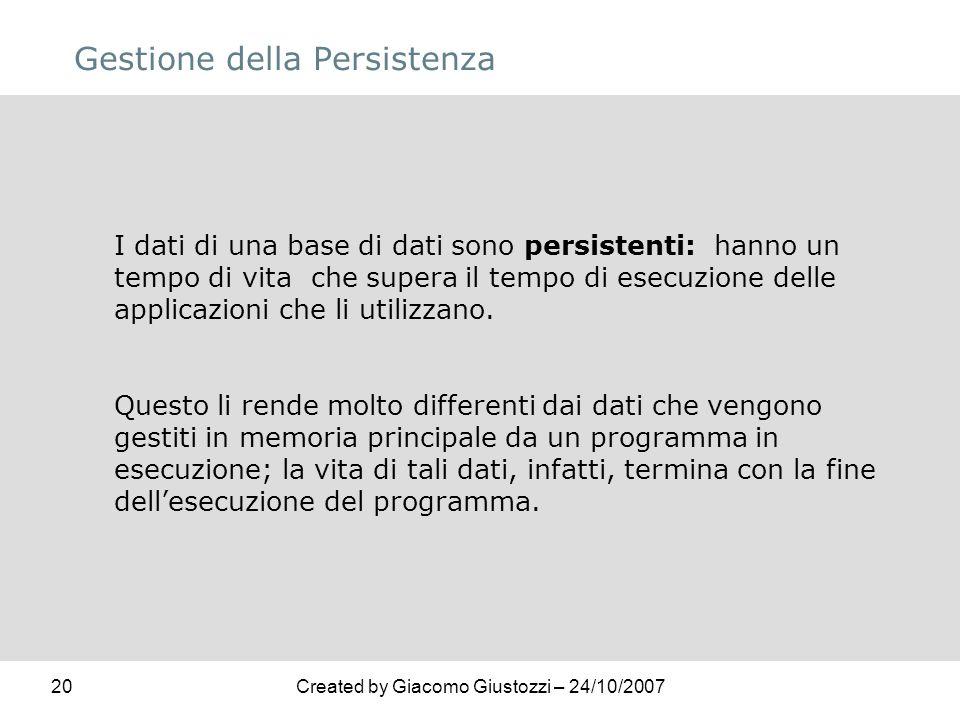 20Created by Giacomo Giustozzi – 24/10/2007 Gestione della Persistenza I dati di una base di dati sono persistenti: hanno un tempo di vita che supera