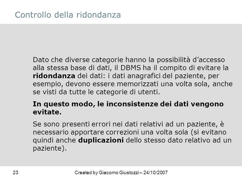 23Created by Giacomo Giustozzi – 24/10/2007 Controllo della ridondanza Dato che diverse categorie hanno la possibilità daccesso alla stessa base di da