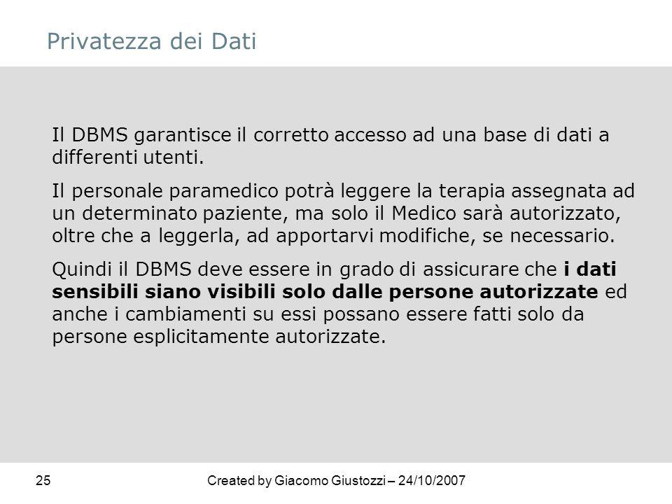 25Created by Giacomo Giustozzi – 24/10/2007 Privatezza dei Dati Il DBMS garantisce il corretto accesso ad una base di dati a differenti utenti. Il per