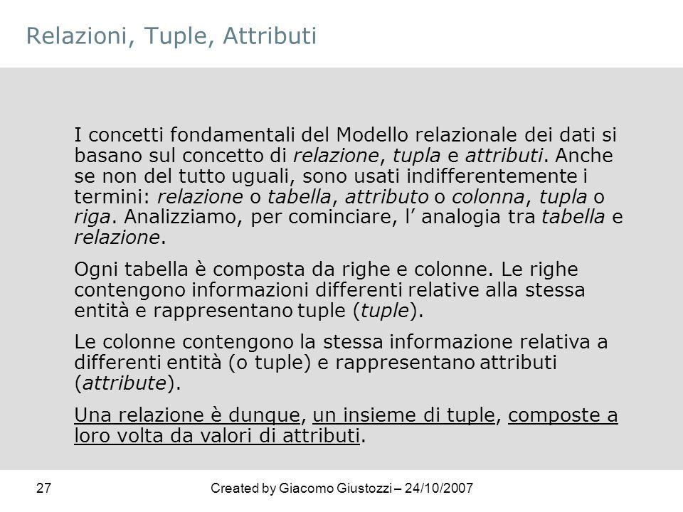 27Created by Giacomo Giustozzi – 24/10/2007 Relazioni, Tuple, Attributi I concetti fondamentali del Modello relazionale dei dati si basano sul concett