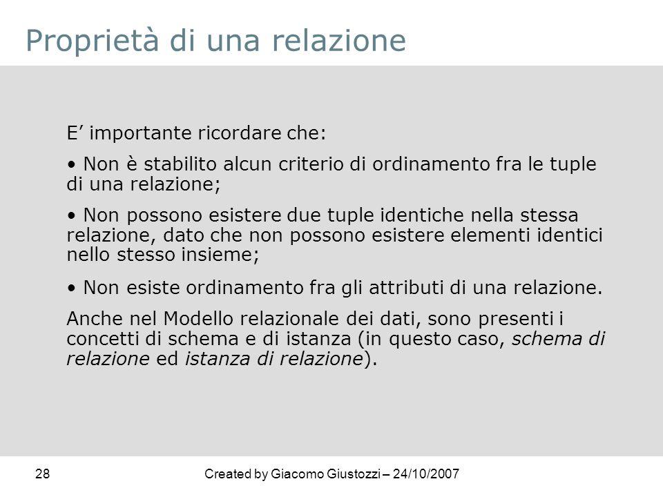 28Created by Giacomo Giustozzi – 24/10/2007 Proprietà di una relazione E importante ricordare che: Non è stabilito alcun criterio di ordinamento fra l