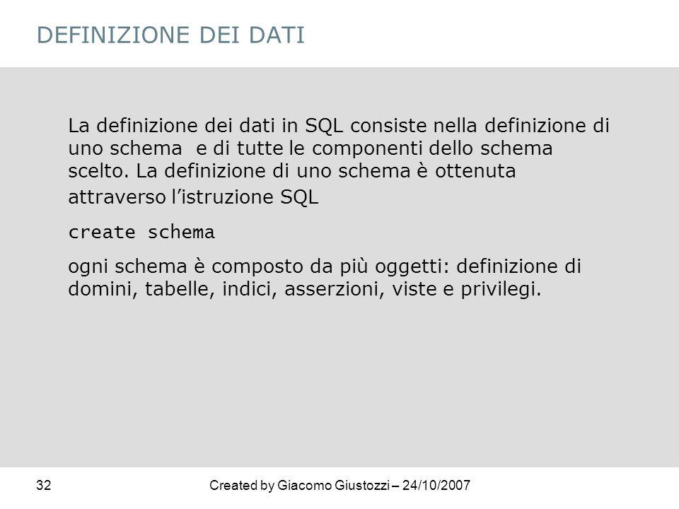 32Created by Giacomo Giustozzi – 24/10/2007 DEFINIZIONE DEI DATI La definizione dei dati in SQL consiste nella definizione di uno schema e di tutte le